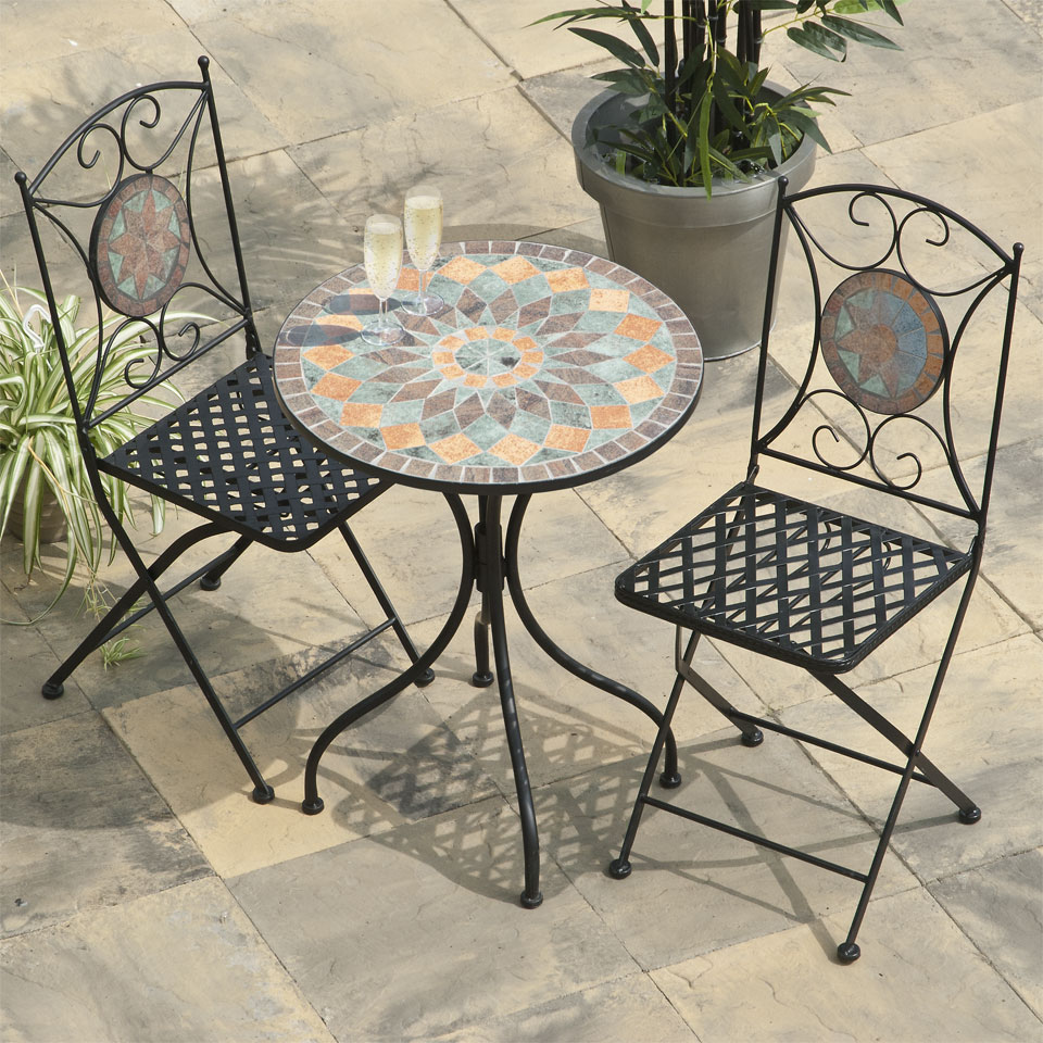 Tangier Mosaic Cast Iron Bistro Set