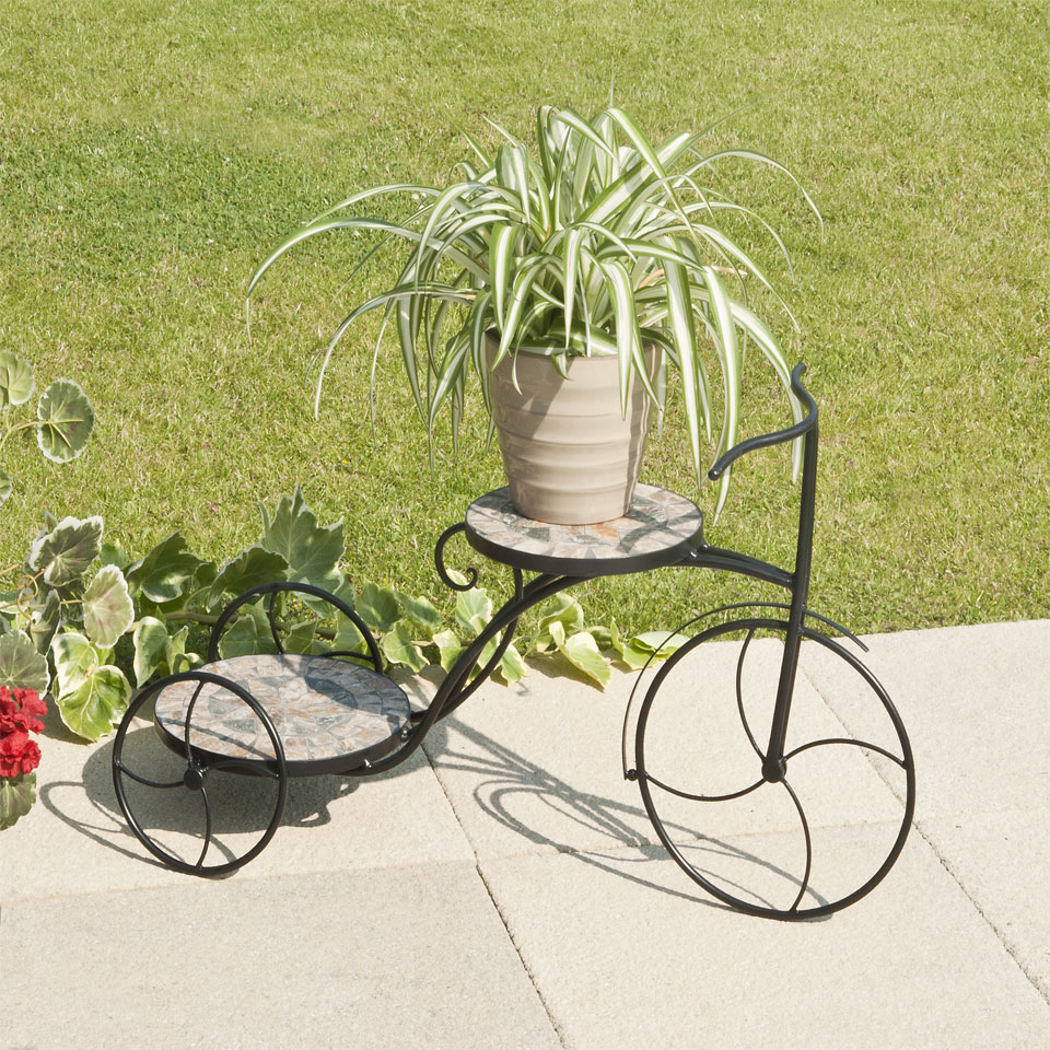 Tricycle Double Mosaic Plant Stand