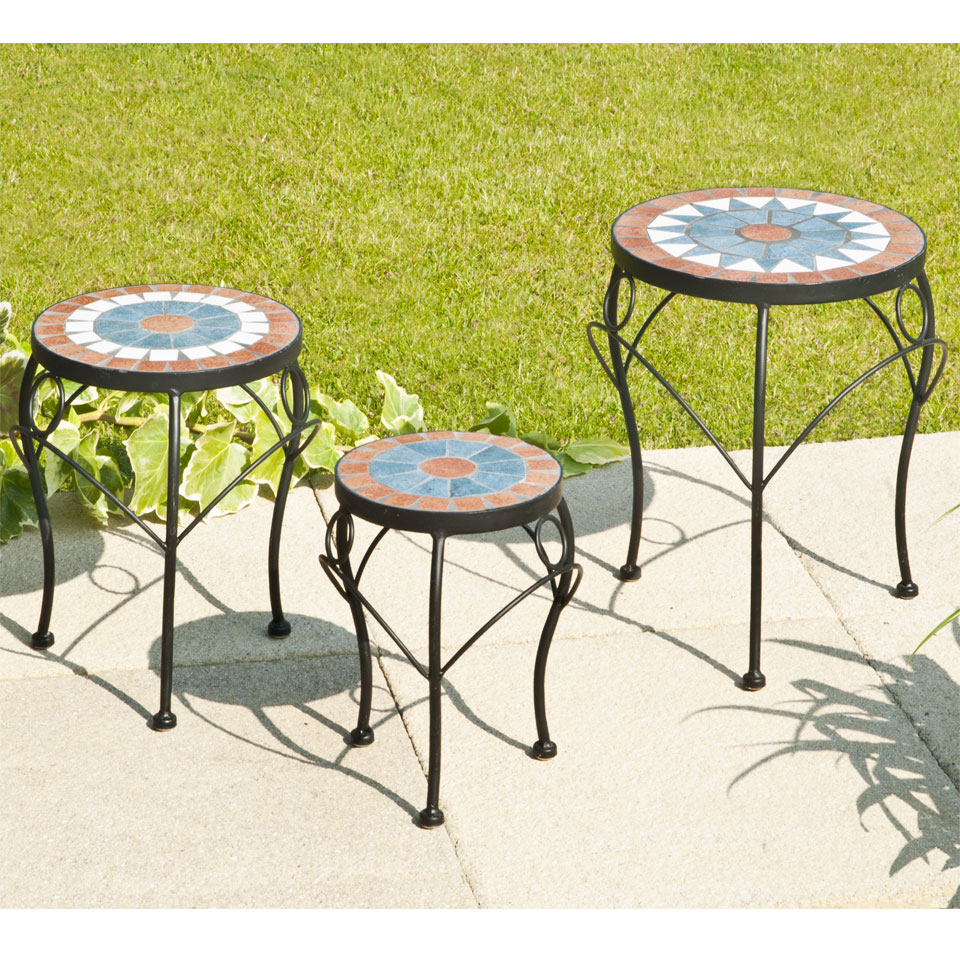 Theodora Set of 3 Mosaic Plant Stands