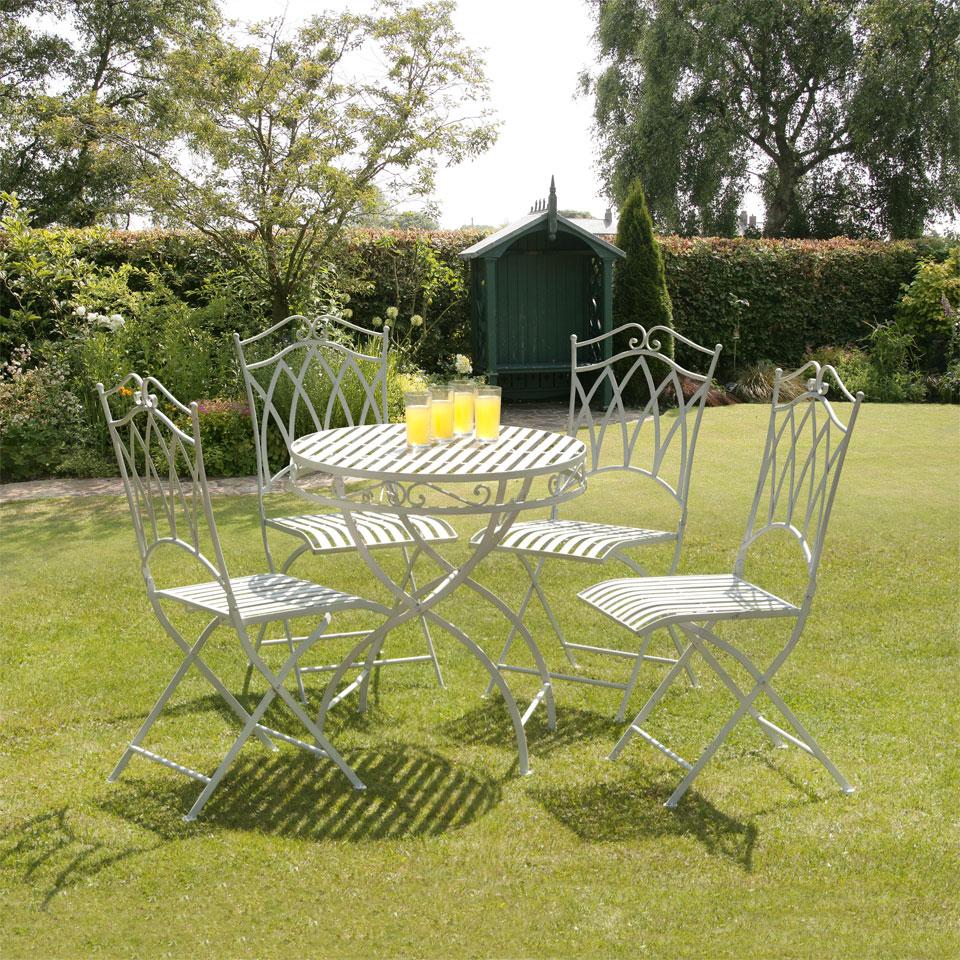 Image of Gloucester 4 Seat White Cast Iron Round Garden Set