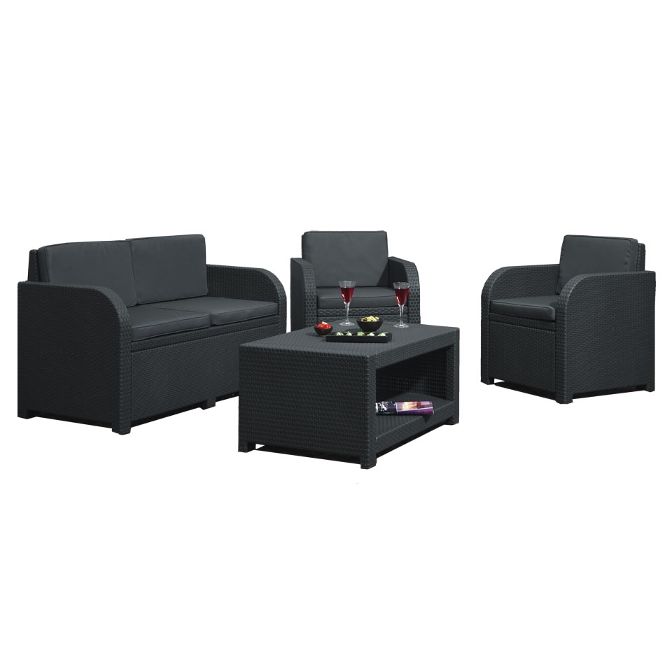 allibert modena graphite grey rattan outdoor lounge set with coffee table. Black Bedroom Furniture Sets. Home Design Ideas
