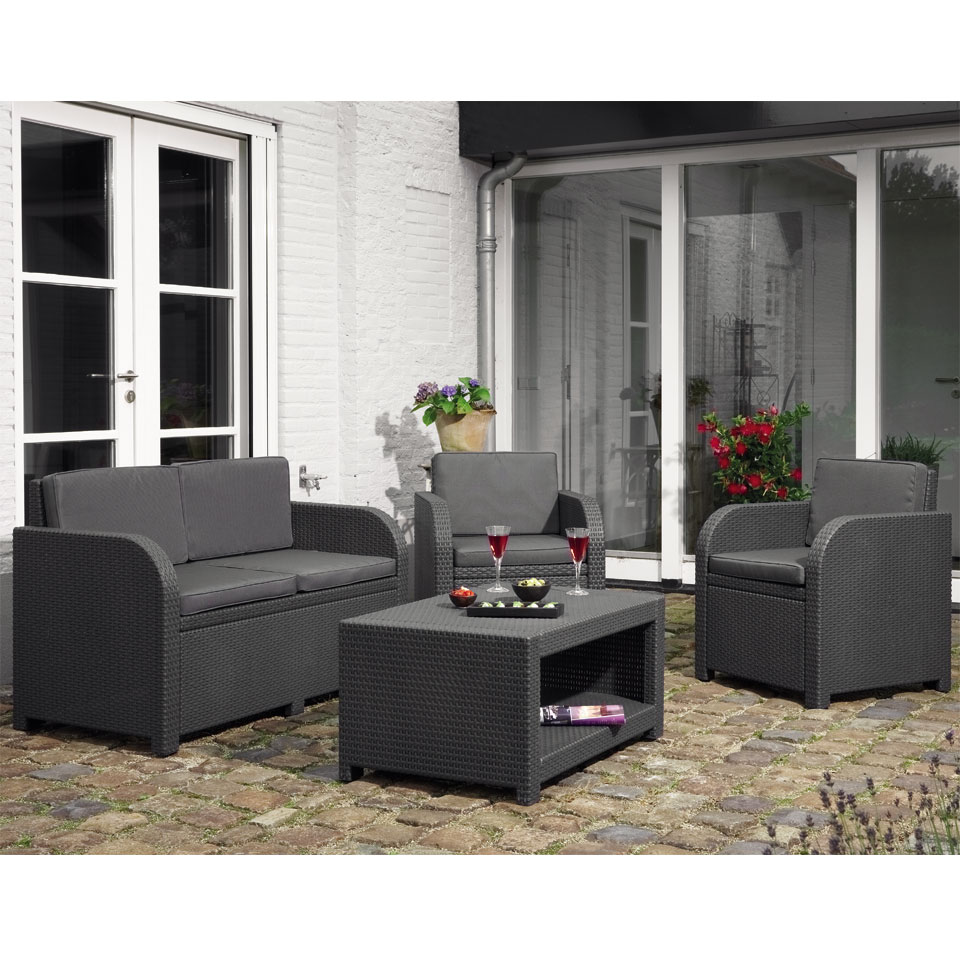 Allibert Modena Graphite Grey Rattan Lounge Set with Coffee Table & Cushions