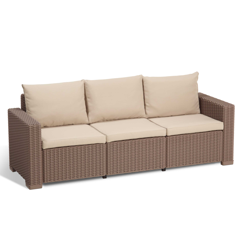 Allibert California Cappuccino 3 Seater Garden Sofa