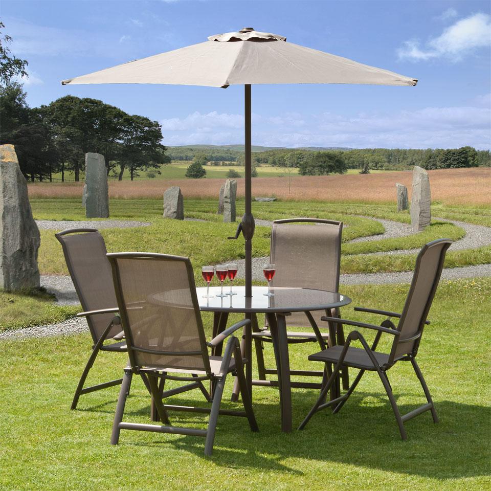 Suntime Havana Mocha 4 Seat 1.2m Outdoor Round Dining Set