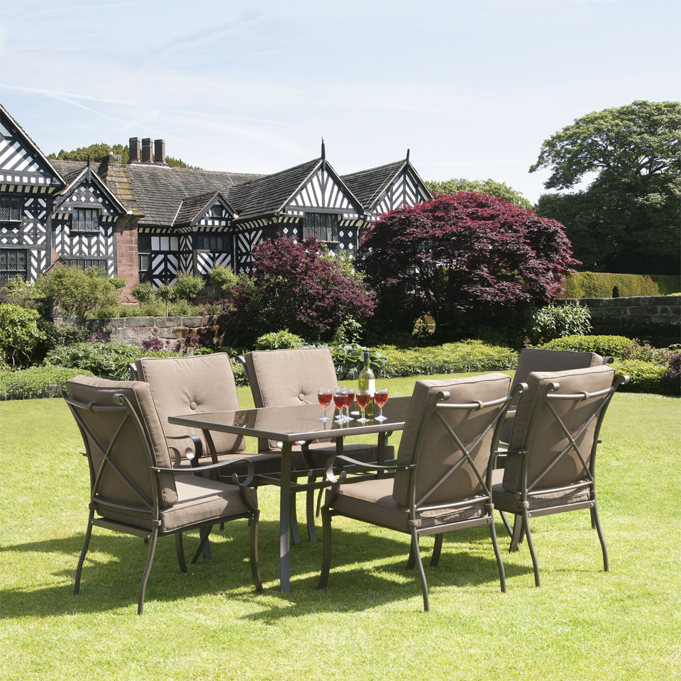 Ferndown Brown 7 Piece Garden & Conservatory 1.6m Dining Set