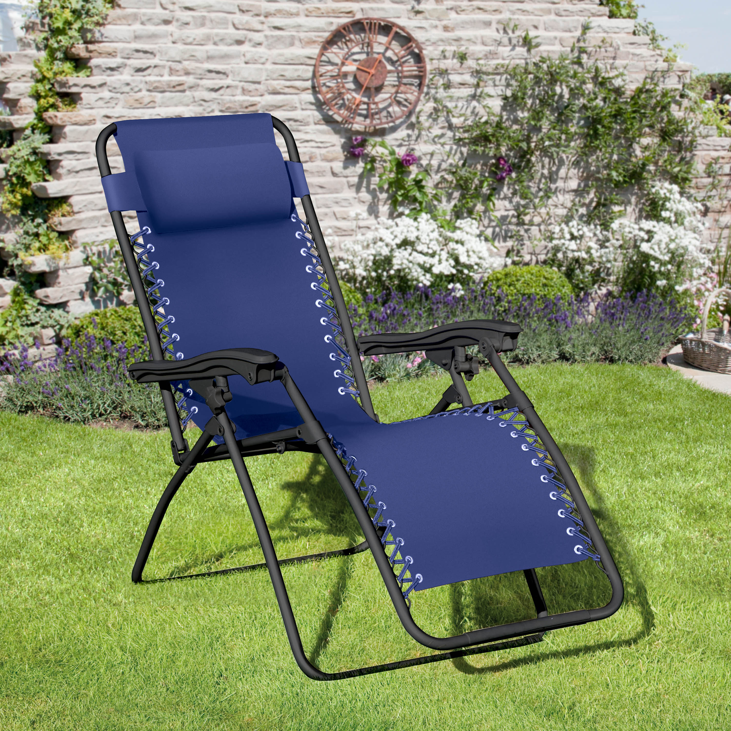 Suntime Deluxe Navy Blue Royale Gravity Garden Chair