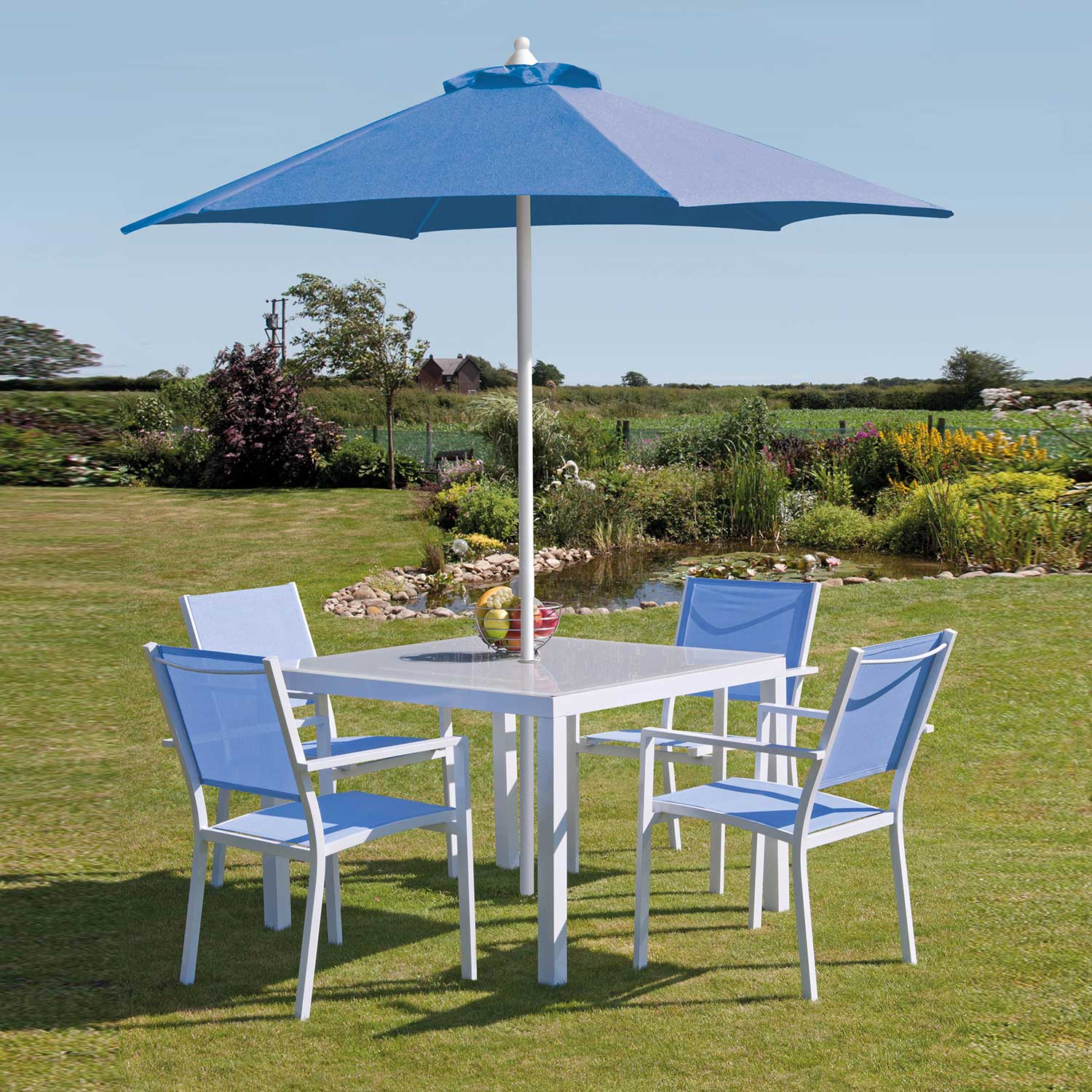 Torino 1m White/Blue Outdoor Dining Collection