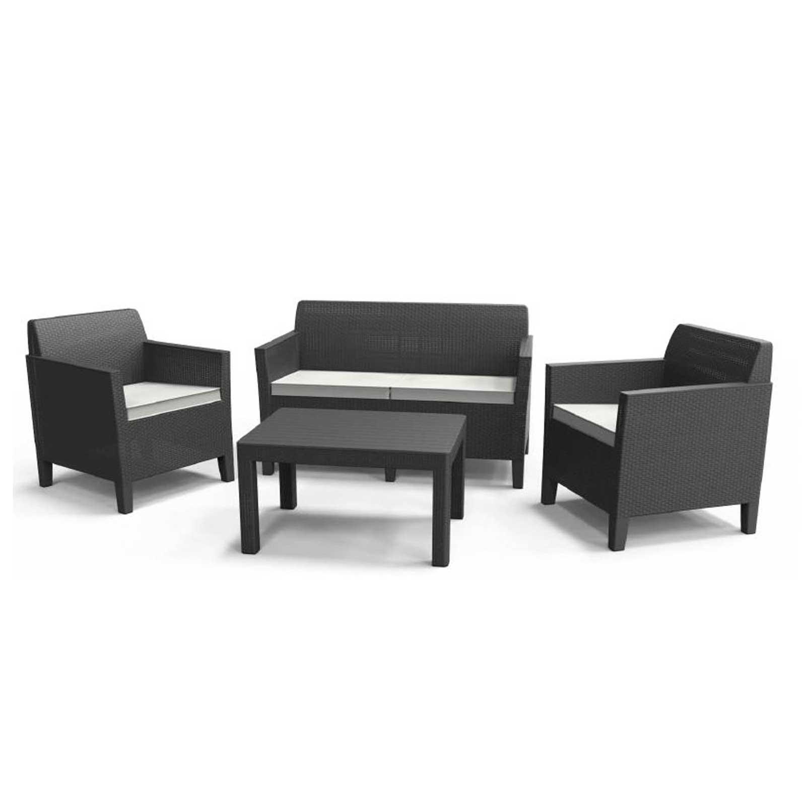 Allibert Chicago Graphite Garden Lounge Furniture Set Large Table