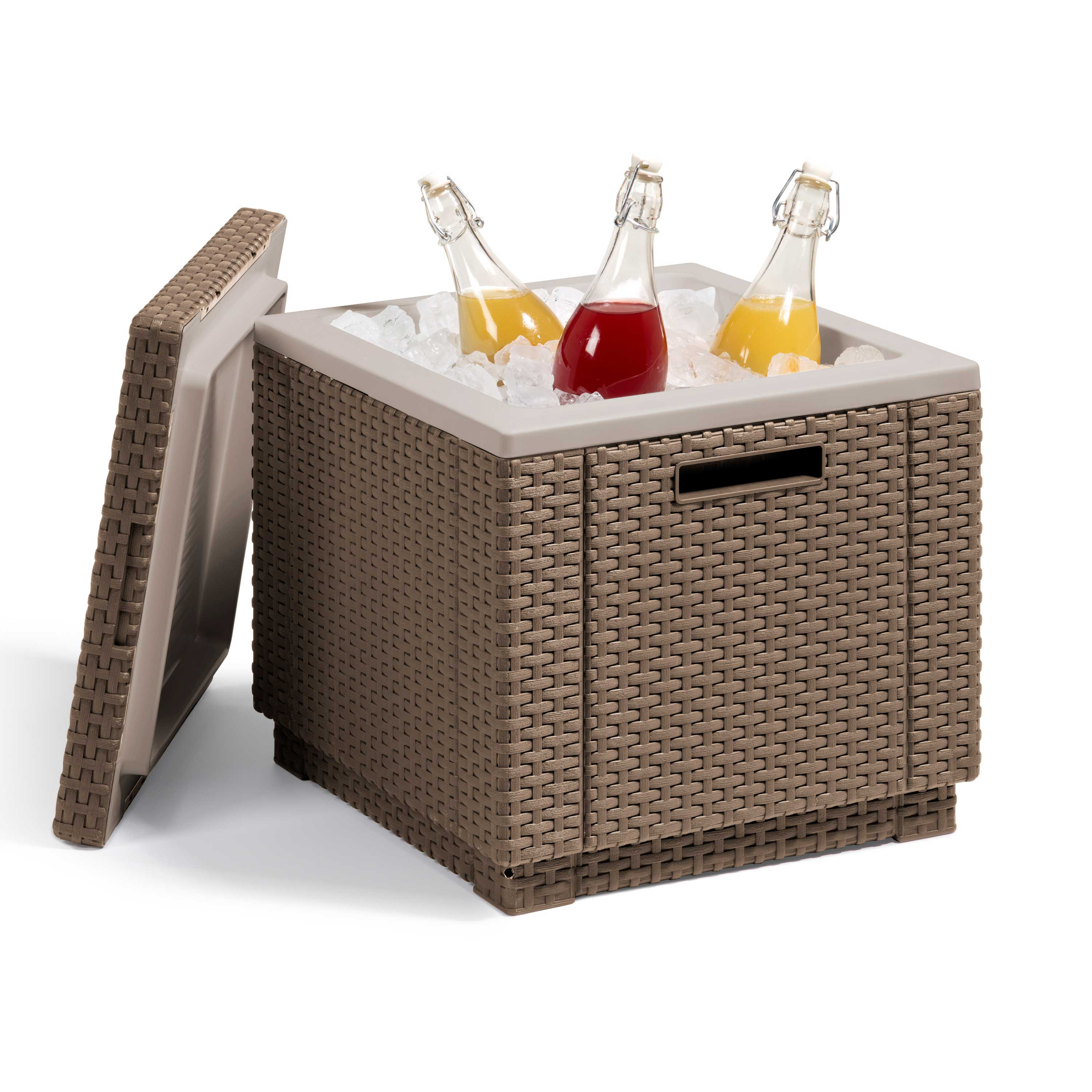 Allibert Cappuccino Rattan Outdoor Ice Cooler Table