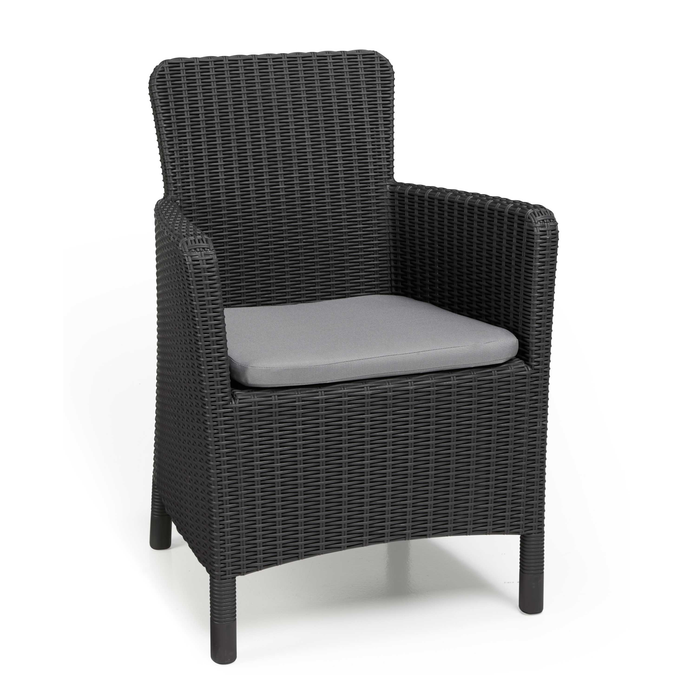 Allibert Trenton Graphite Grey High Back Dining Chairs - Pair