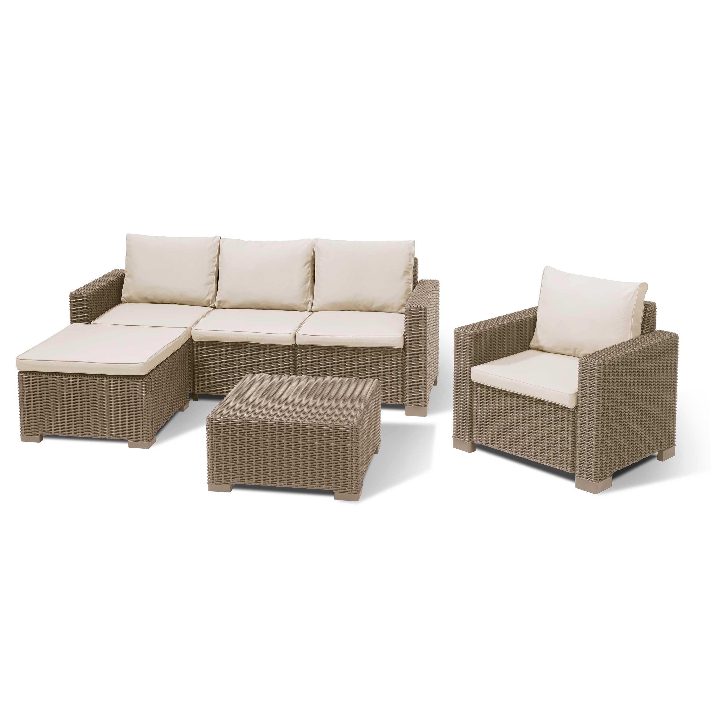 Moorea 3 Seater Outdoor Sofa Collection w/Cushions Cappuccino