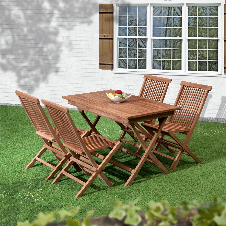 Image of Bali Folding 4 Seat Teak Garden Dining Set
