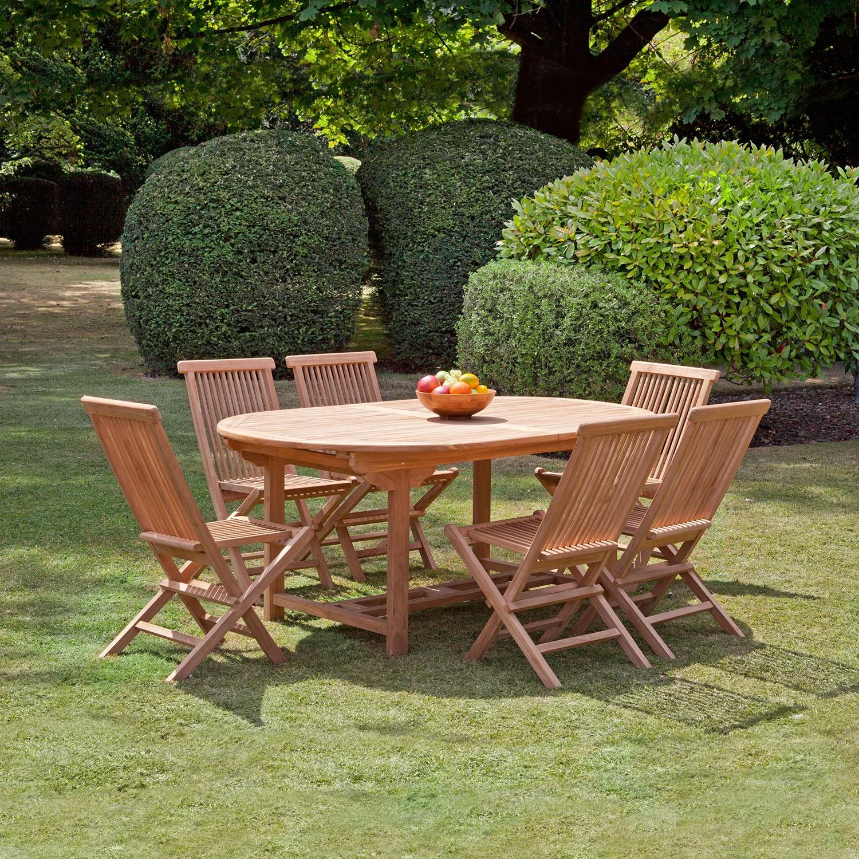 Image of Bali Teak 180 cm Oval 6 Seat Garden Dining Set