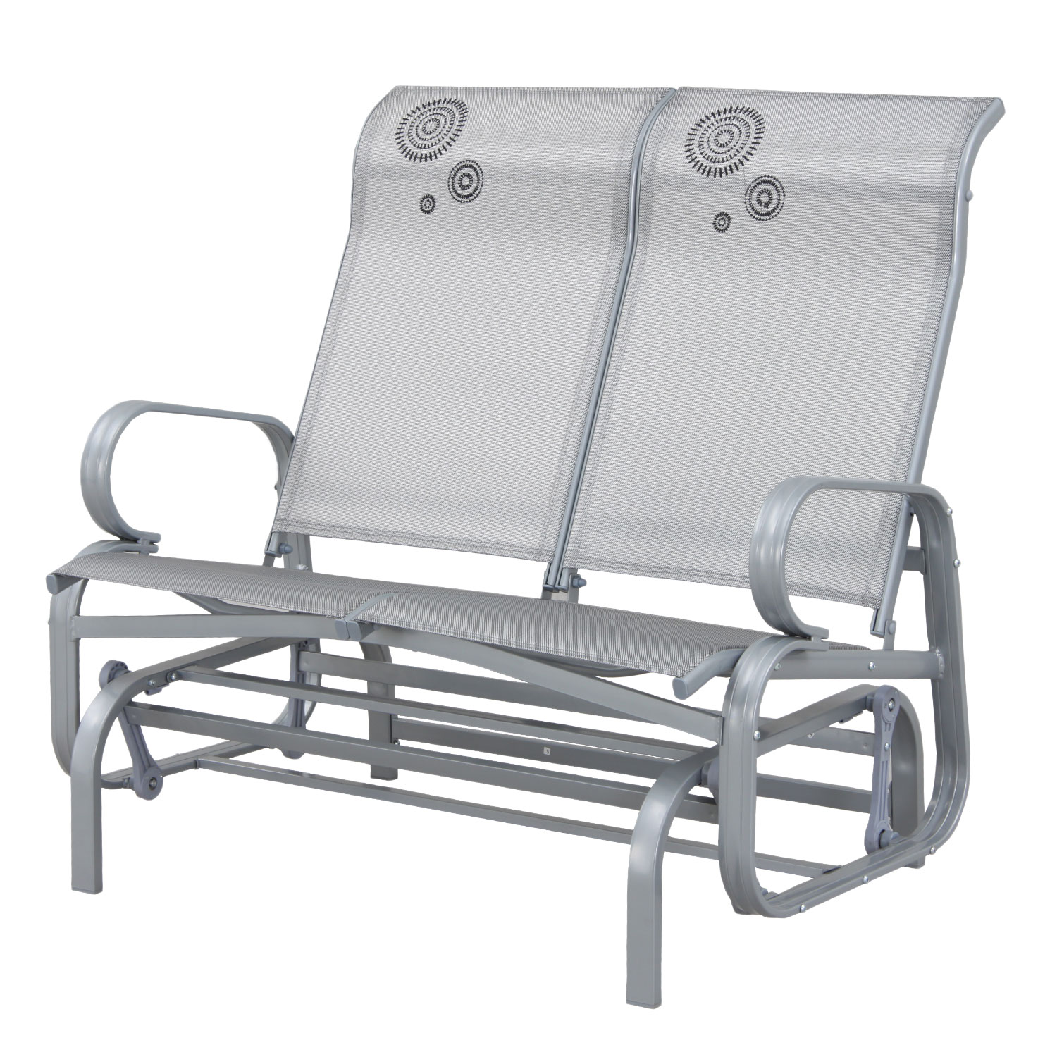 Suntime Havana Silver Twin Seat Outdoor Rocker Glider
