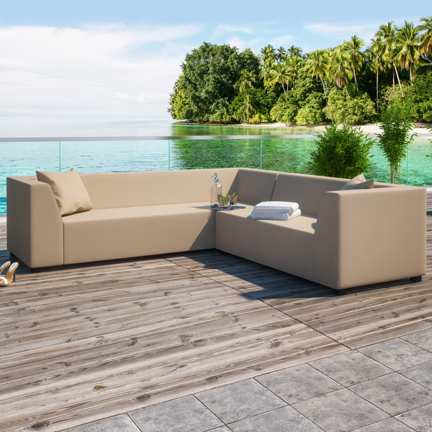 Alkmaar Beige 2 Piece Outdoor Garden Left Corner Sofa Collection