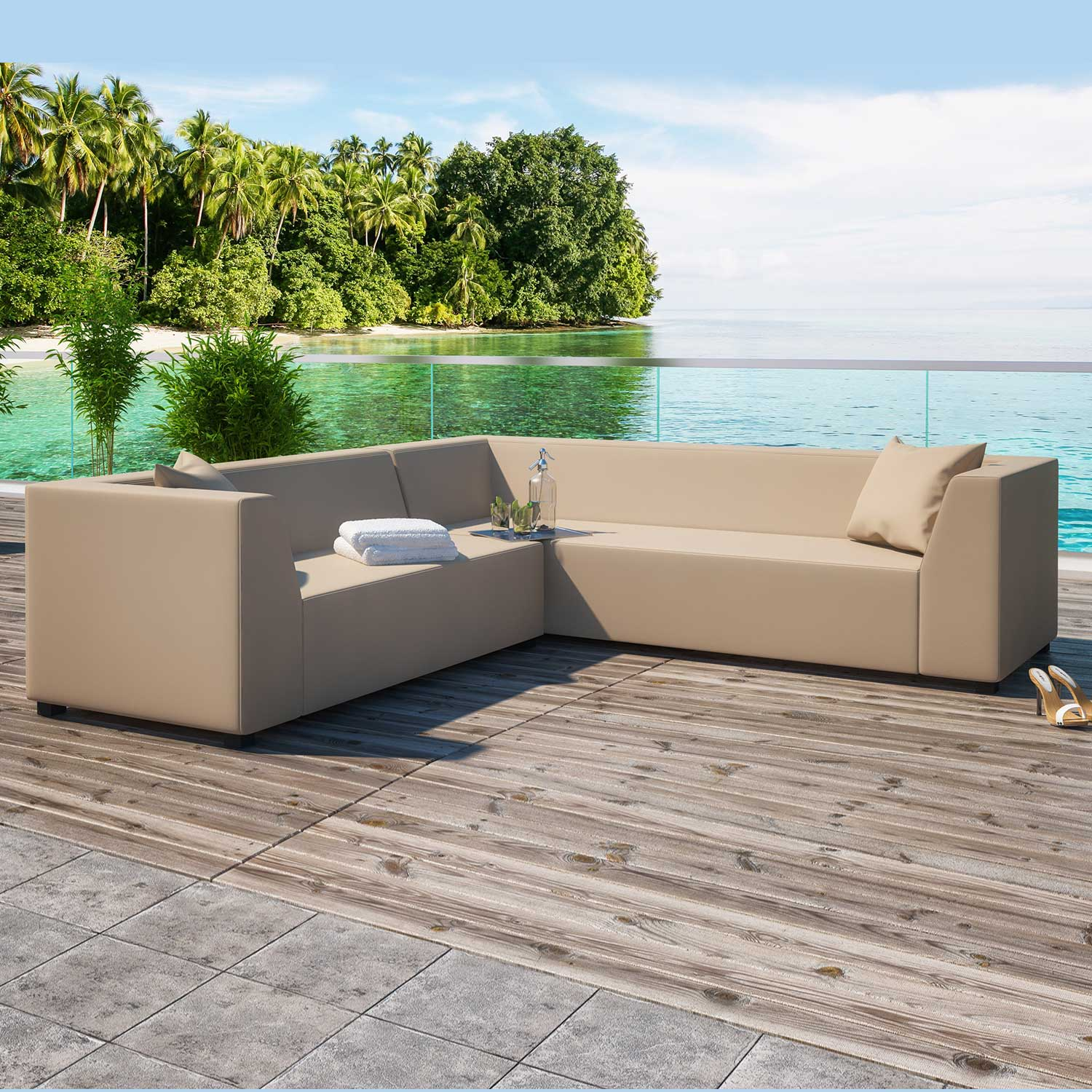 Alkmaar Beige 2 Piece Outdoor Garden Right Corner Sofa Collection