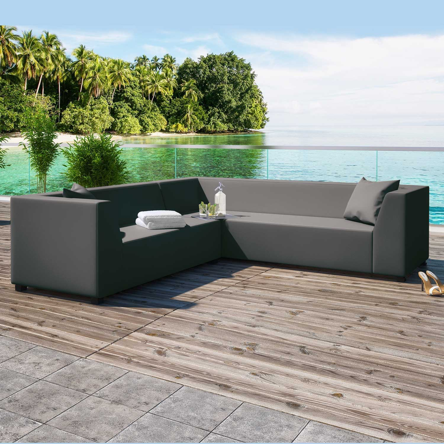 Alkmaar Graphite 2 Piece Outdoor Garden Right Corner Sofa Collection