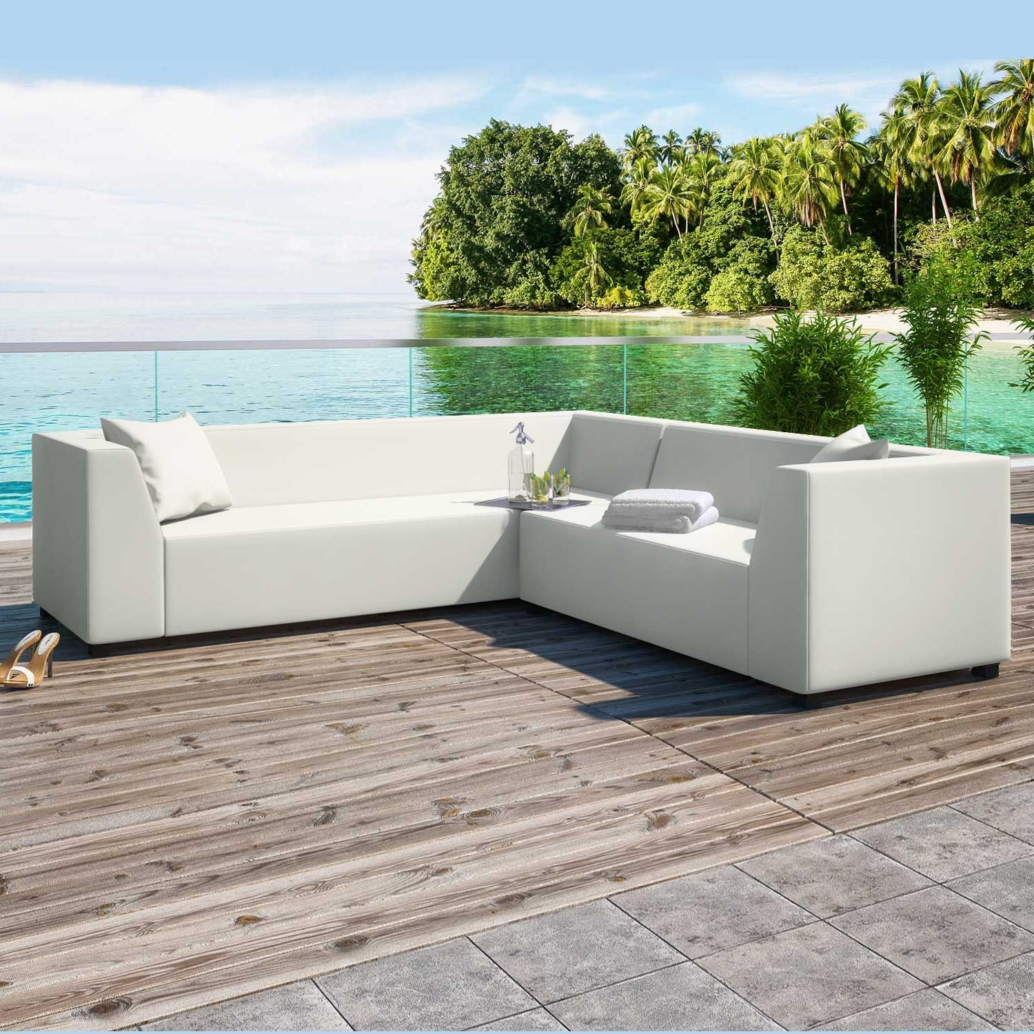 Alkmaar White 2 Piece Outdoor Garden Left Corner Sofa Collection