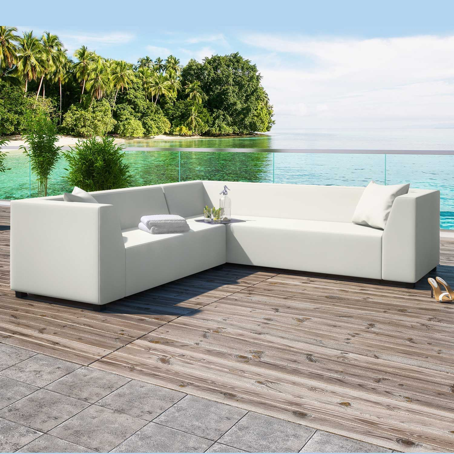 Alkmaar White 2 Piece Outdoor Garden Right Corner Sofa Collection