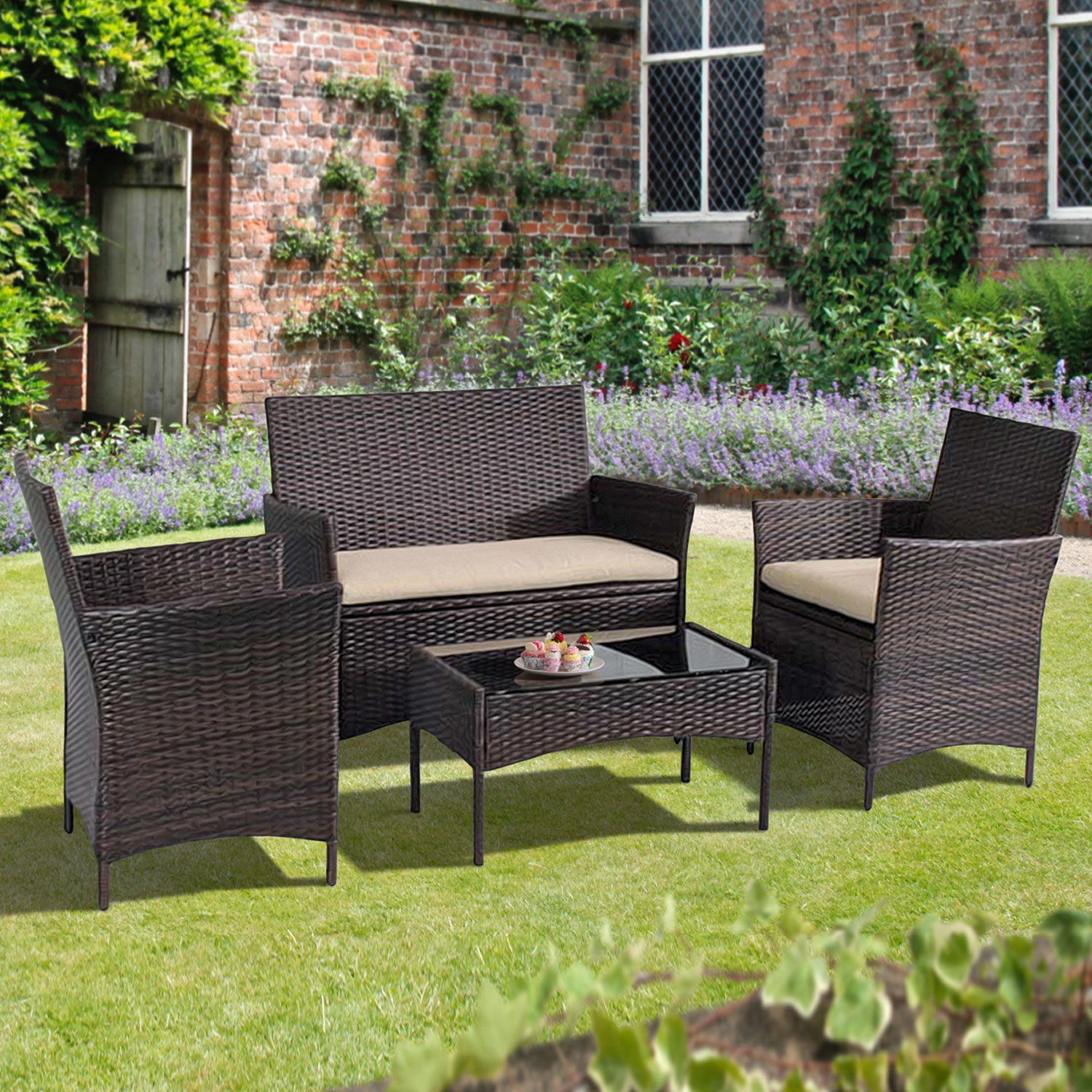 Helsinki Outdoor Sofa Set in Brown Rattan