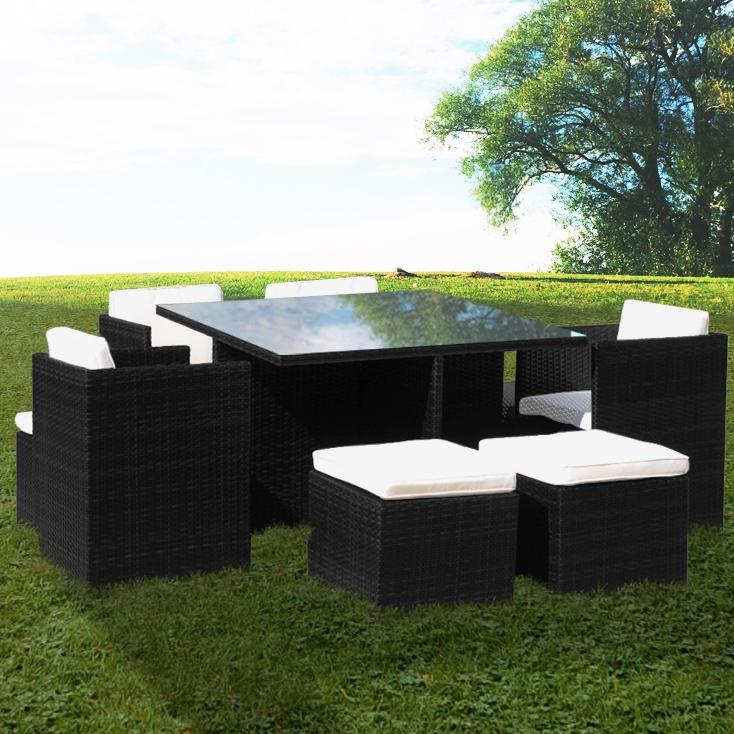 Premium Black Rattan Cube Collection