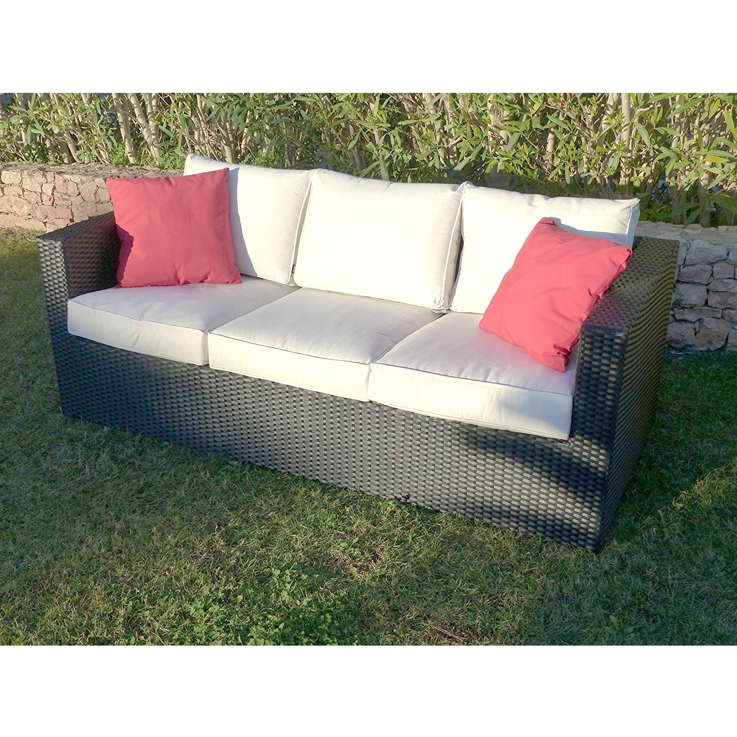 Premium Helios 3 Seat Black Rattan Sofa Collection