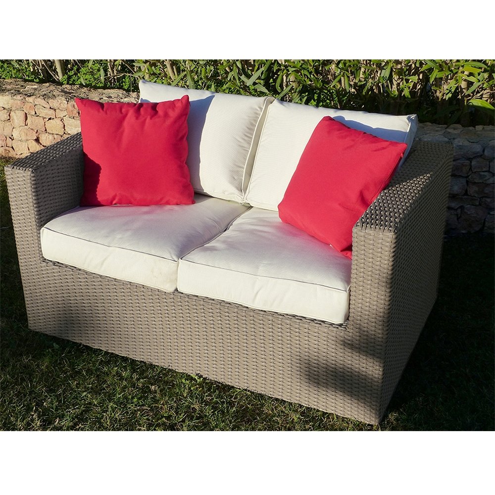 Premium Tyche Mocha Grey Rattan Two Seat Sofa