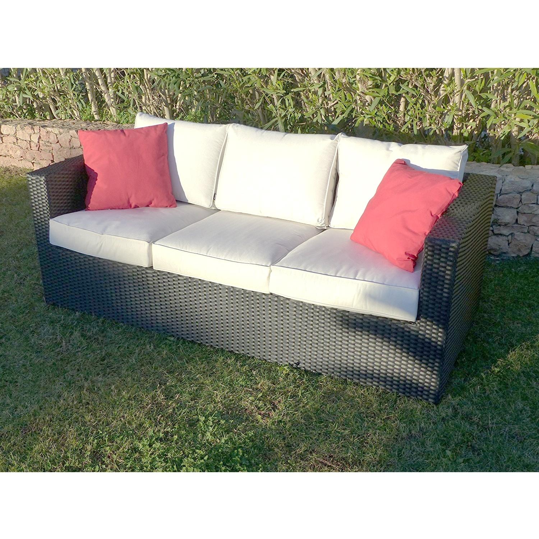 Premium Helios 3 Seat Black Rattan Sofa