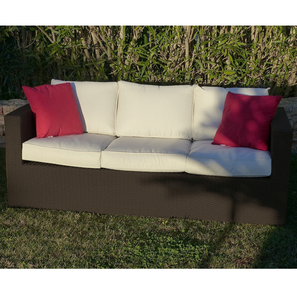 Premium Helios 3 Seat Coffee Rattan Sofa