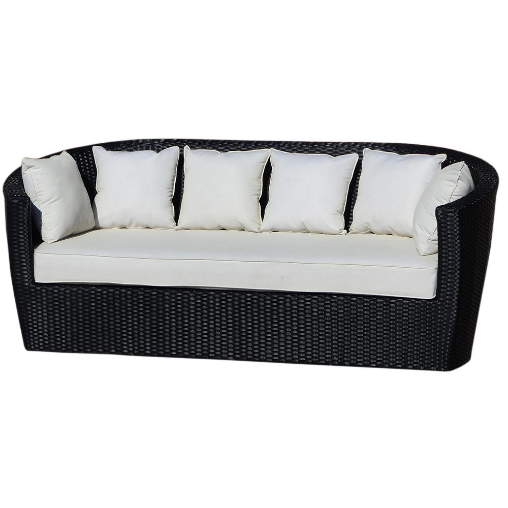 Premium Chronos Black Triple Seat Rattan Sofa