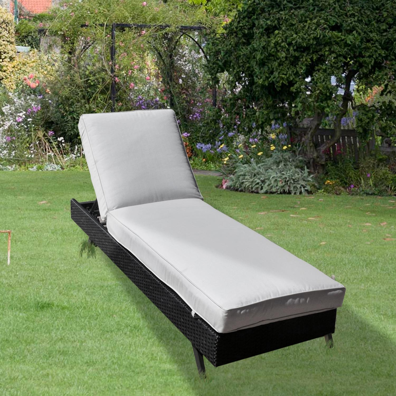 Premium Aluminium Black Rattan Wicker Sun Lounger