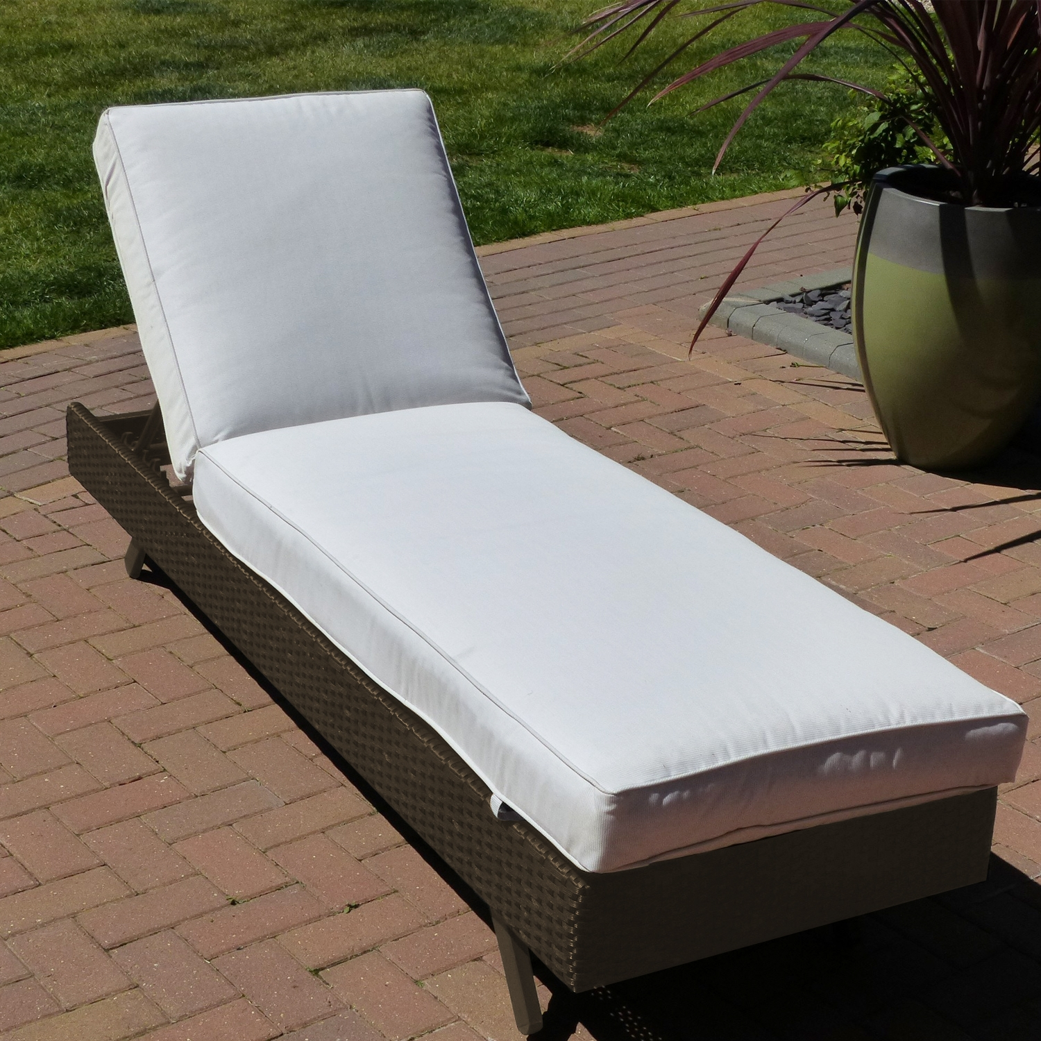 Premium Aluminium Coffee Rattan Wicker Sun Lounger