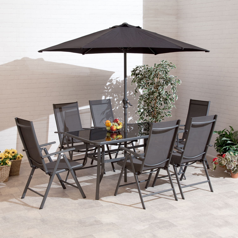 Image of 1.5m Santos 6 Seat Charcoal Aluminium Outdoor Dining Set