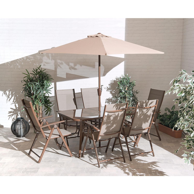 Image of 1.5m Santos Brown 6 Seat Aluminium Outdoor Dining Set
