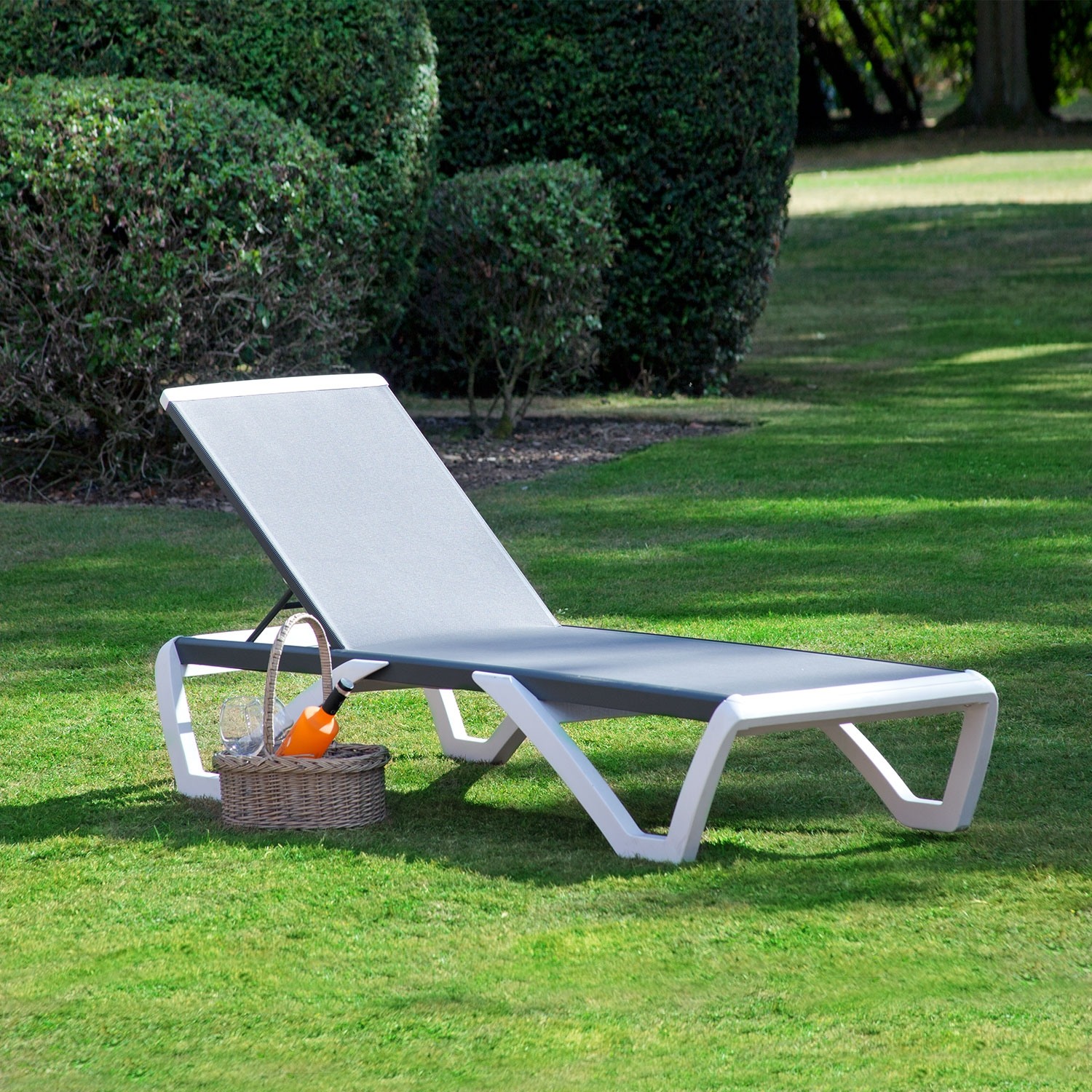 Image of Toledo Sun lounger White Charcoal