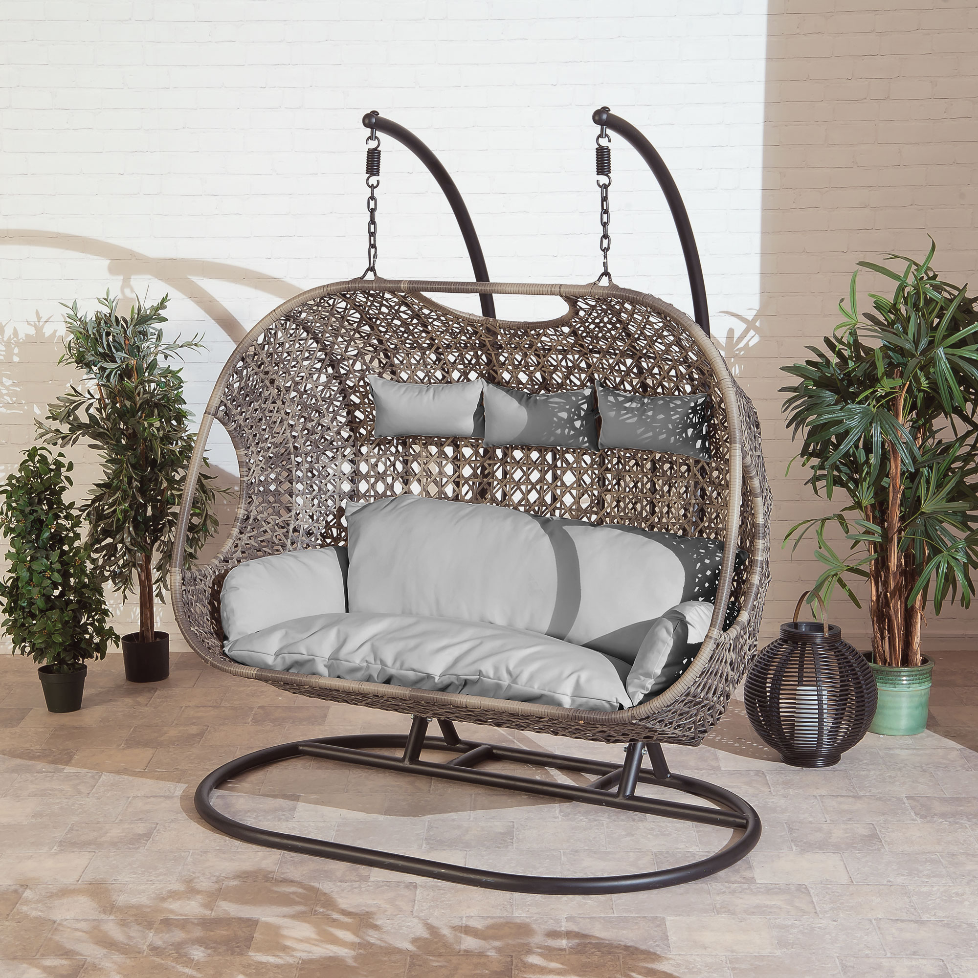 Brampton Luxury Rattan Wicker Outdoor Hanging Cocoon Egg Swing Chair with Grey Cushions (Triple)
