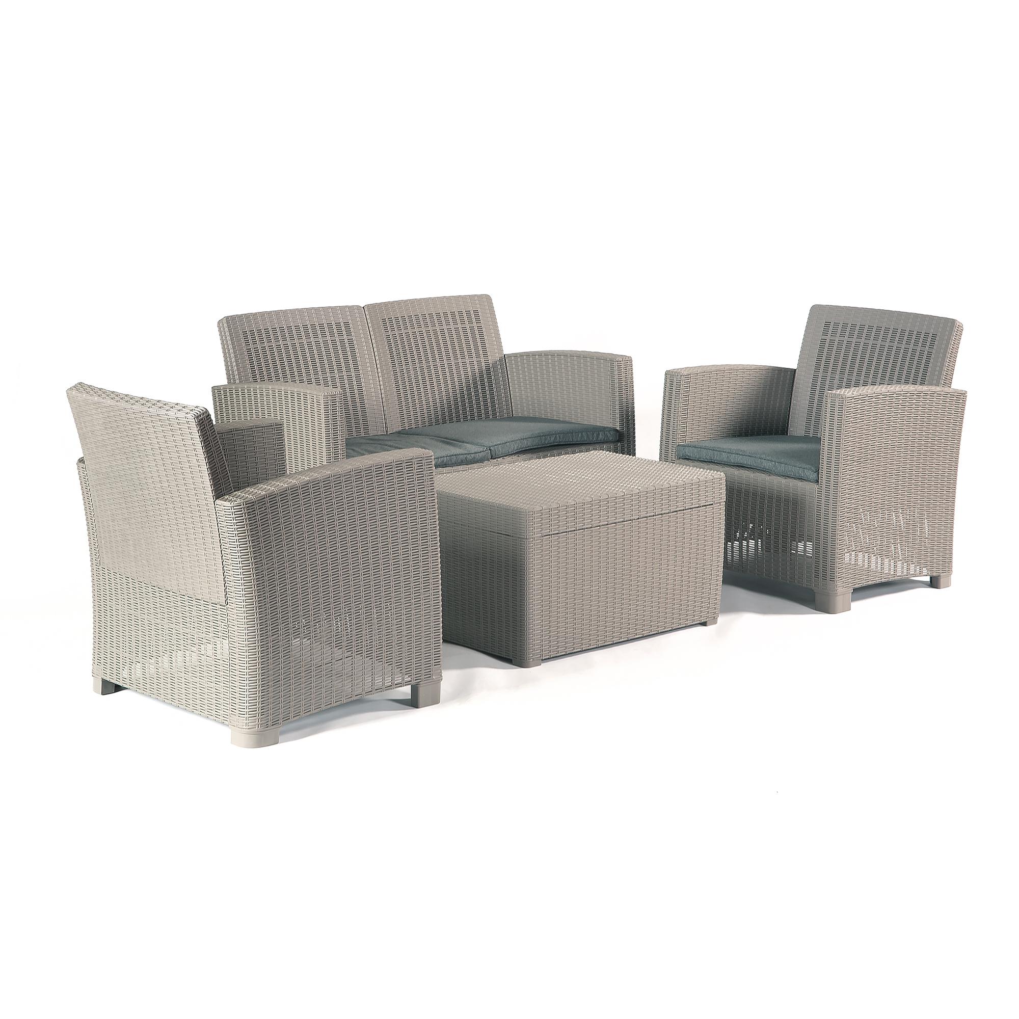 Vienna Plastic Rattan Garden Lounge Set with Storage Table & Seat Cushions