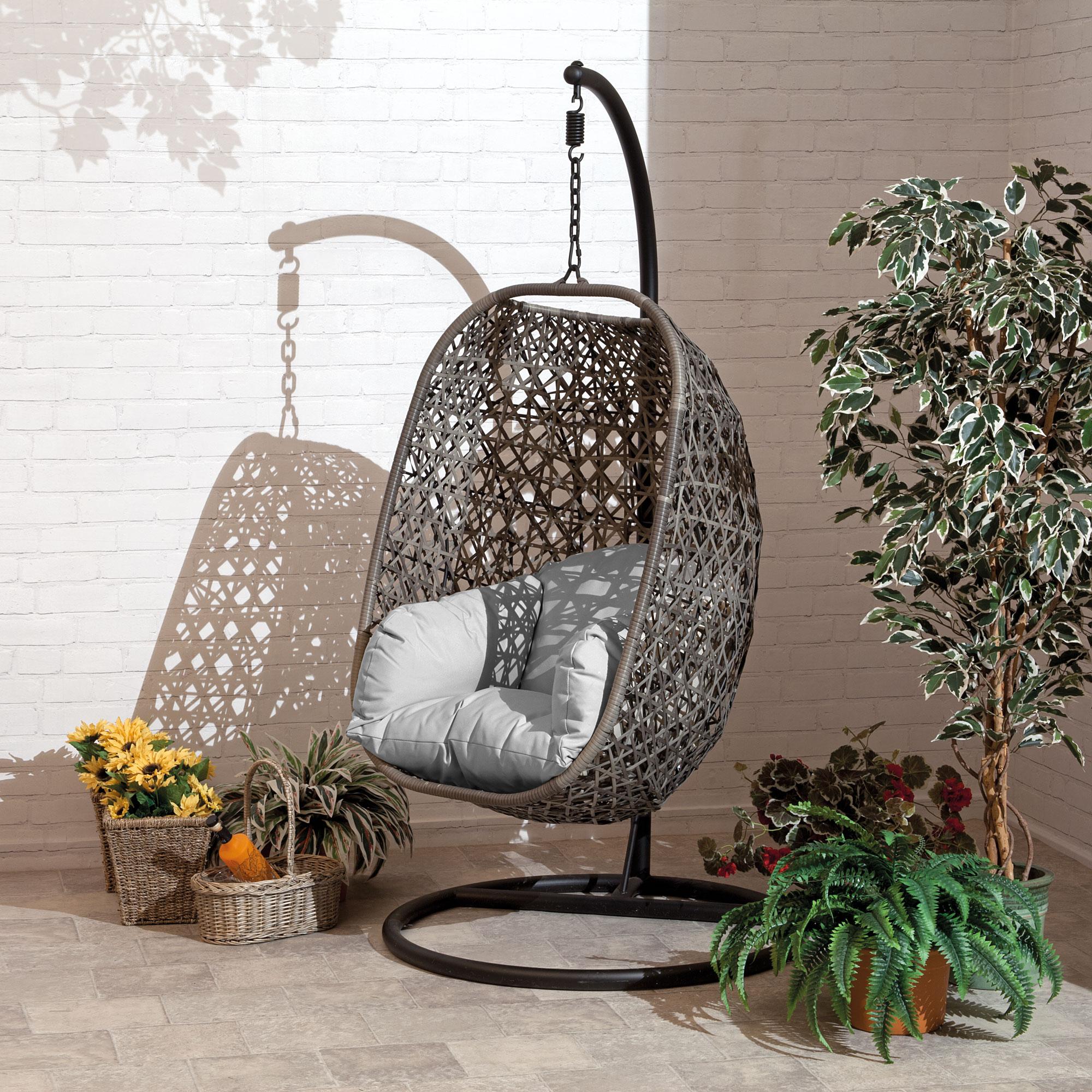 Brampton Luxury Rattan Wicker Outdoor Hanging Cocoon Egg Swing Chair with Grey Cushions (Single)