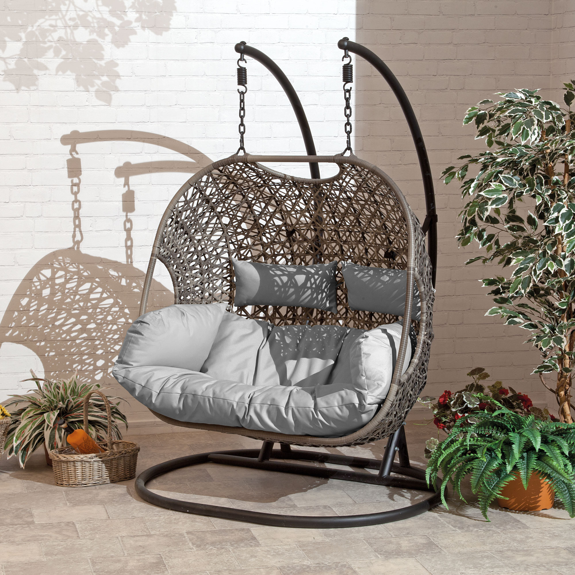 Brampton Luxury Rattan Wicker Outdoor Hanging Cocoon Egg Swing Chair with Grey Cushions (Double)