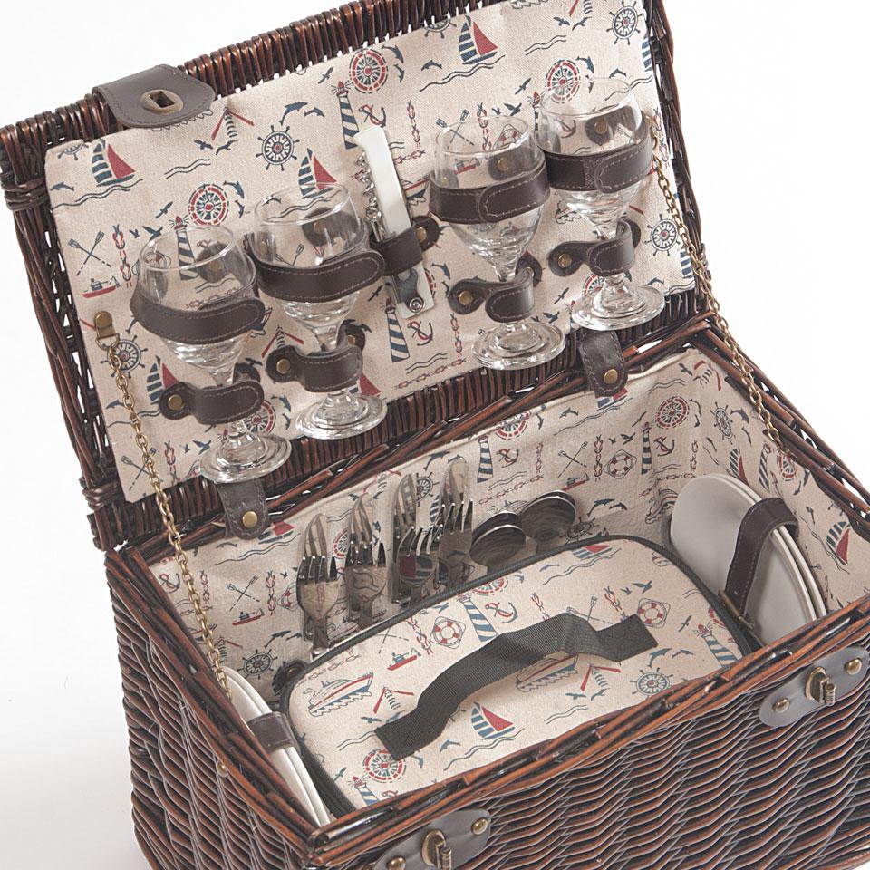 Epsom Dark Willow Picnic Basket for 4