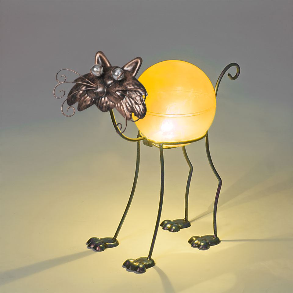 Garden Glows Solar Powered Bronze Cat Garden Light