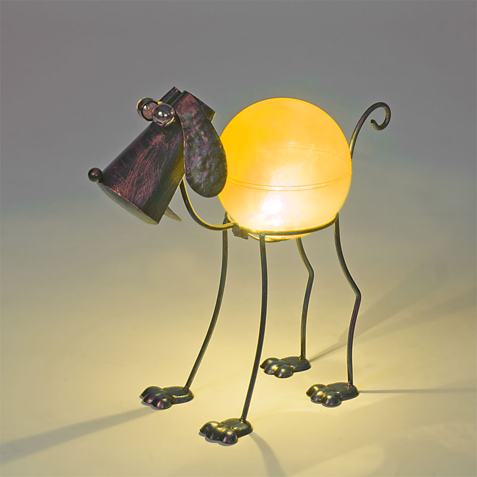 Garden Glows Solar Powered Bronze Dog Garden Light