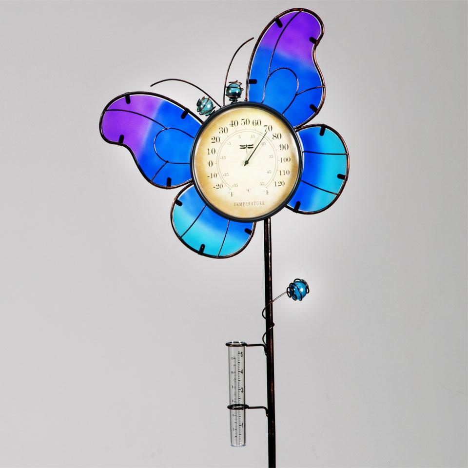 Garden Glows Blue Glass Butterfly Rain Gauge & Thermometer Garden Stake
