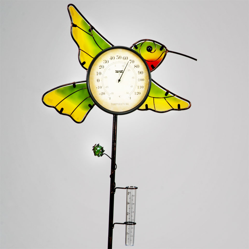 Garden Glows Yellow Glass Hummingbird Rain Gauge & Thermometer Garden Stake