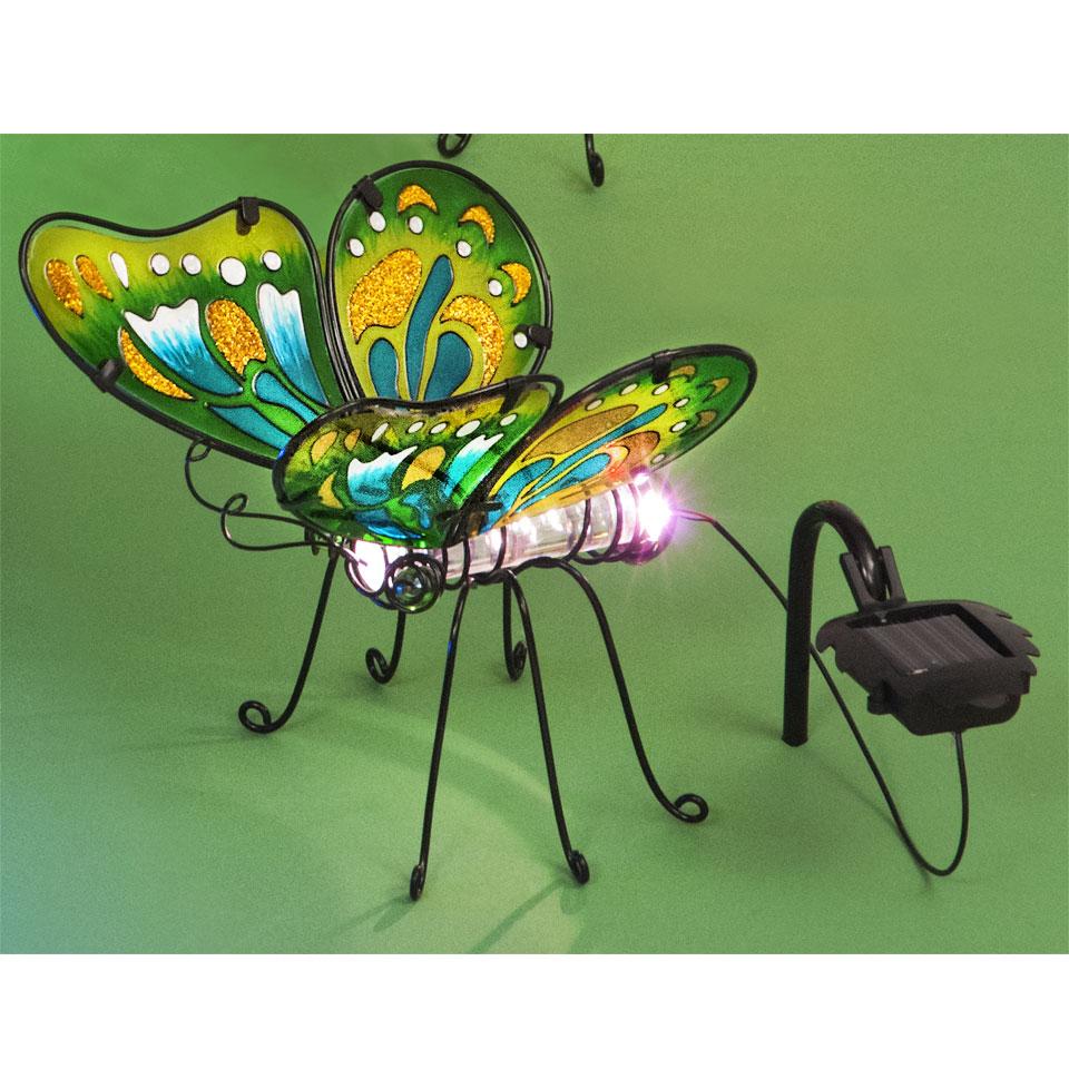 Garden Glows Solar Powered Colour Changing Green Glass Butterfly Light