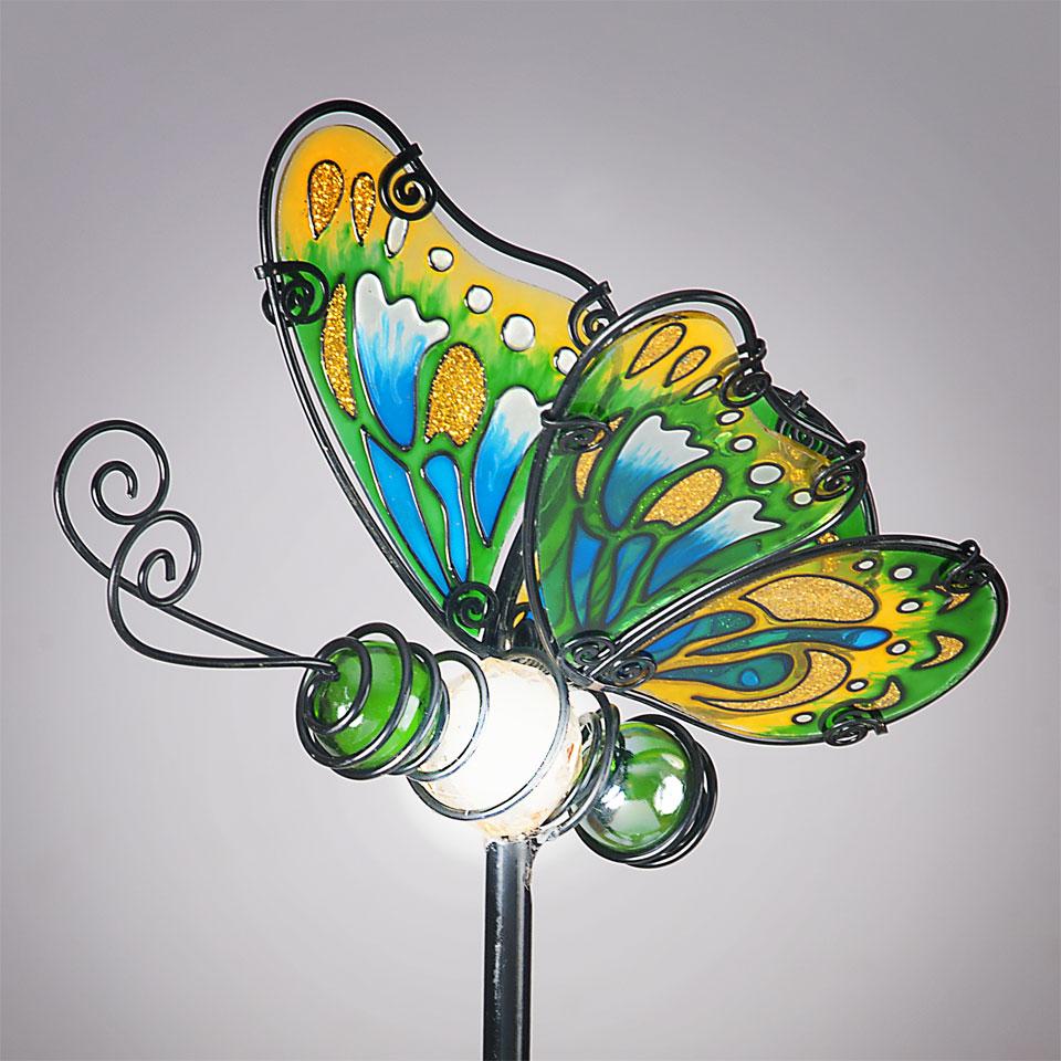 Garden Glows Solar Powered Green Glass Butterfly Garden Stake