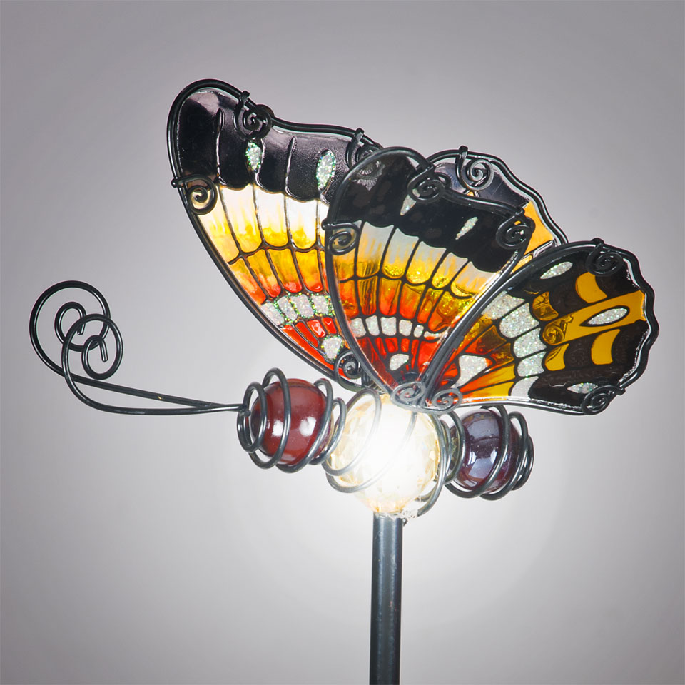 Garden Glows Solar Powered Red Glass Butterfly Garden Stake
