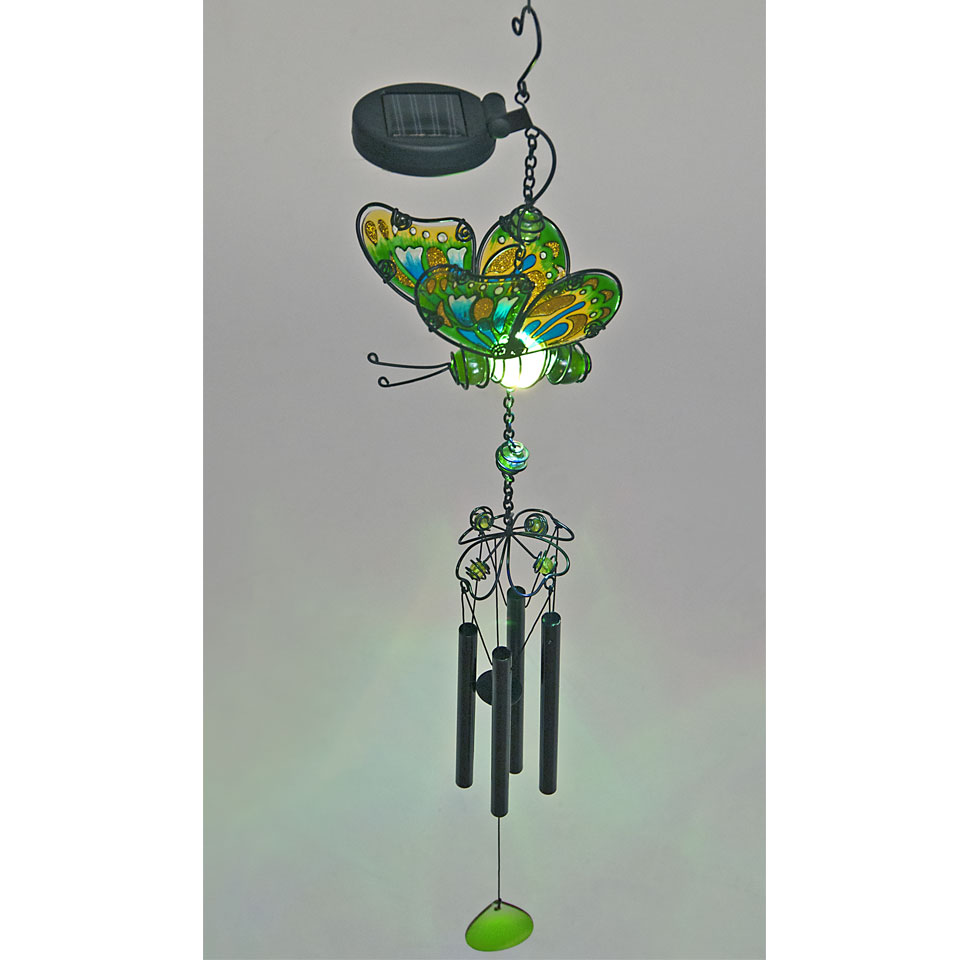 Solar Powered Green Glass Butterfly Wind Chime