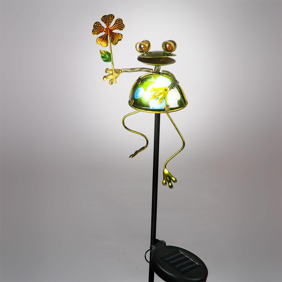 Garden Glows Solar Powered Frog & Flower Garden Stake Light