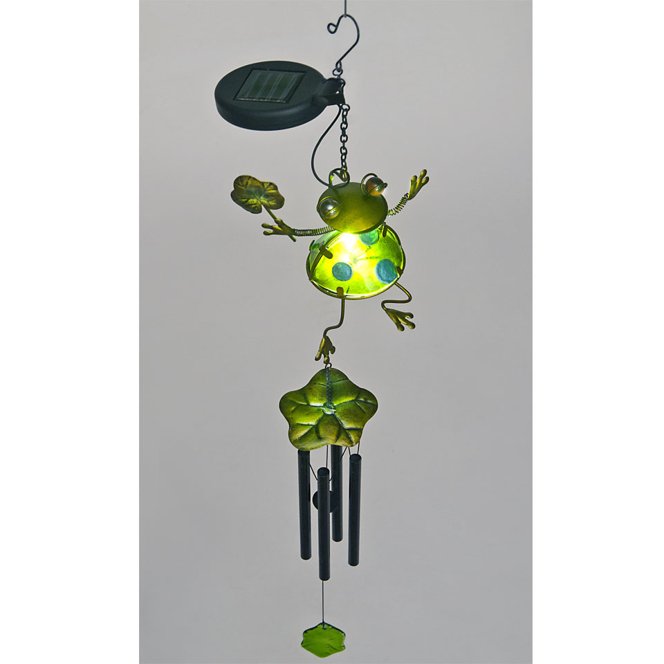Solar Powered Green Glass Frog with Lily Pad Wind Chime